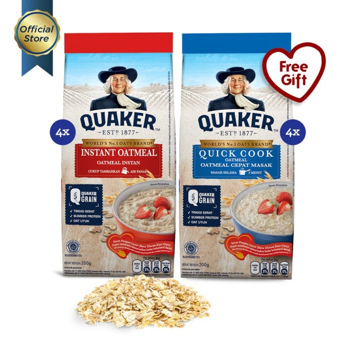 [mix pack] quaker instant & quick cooking oatmeal 200g - 4 pcs [gwp]