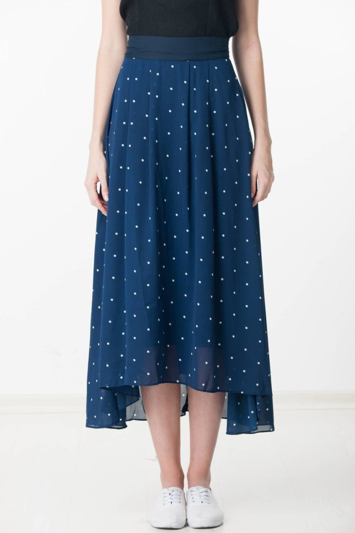Eelyn Polka Dotted Maxi Skirt in Navy From Ninth Collective