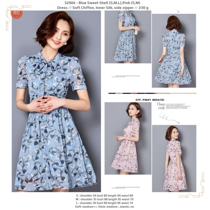 799014fea285a Jual dress floral wanita, dress korea,import,soft chiffon,pink,biru ...