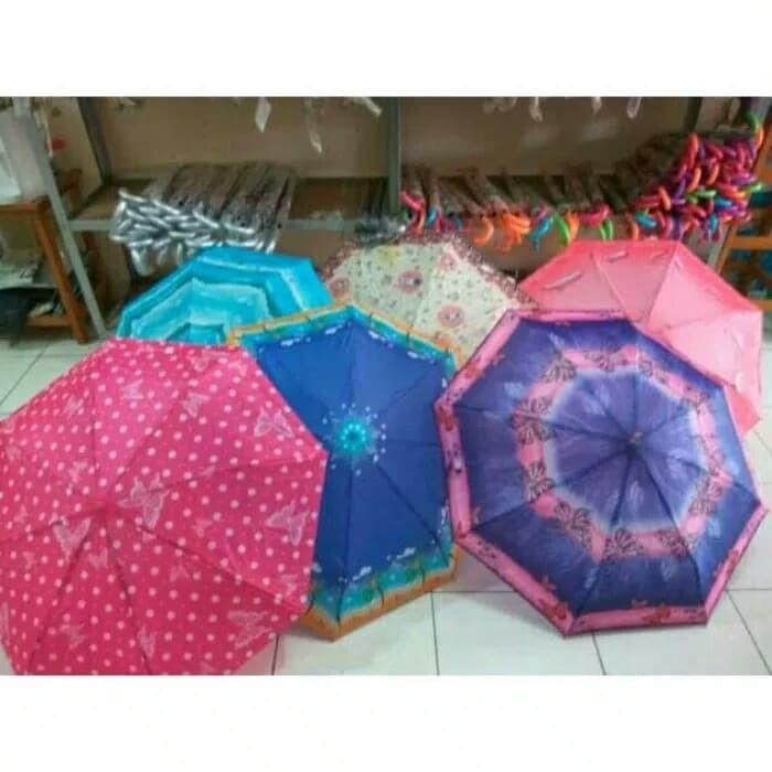 Payung lipat 3 murah hujan motif kotak bunga polkadot abstrak dll