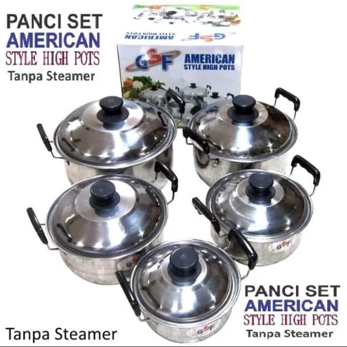 Panci set 5 pcs american style high pots Gsf 1625 tanpa steamer