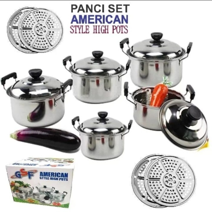 Panci set 5pcs american style high pots stainless - cookware set 5 pcs