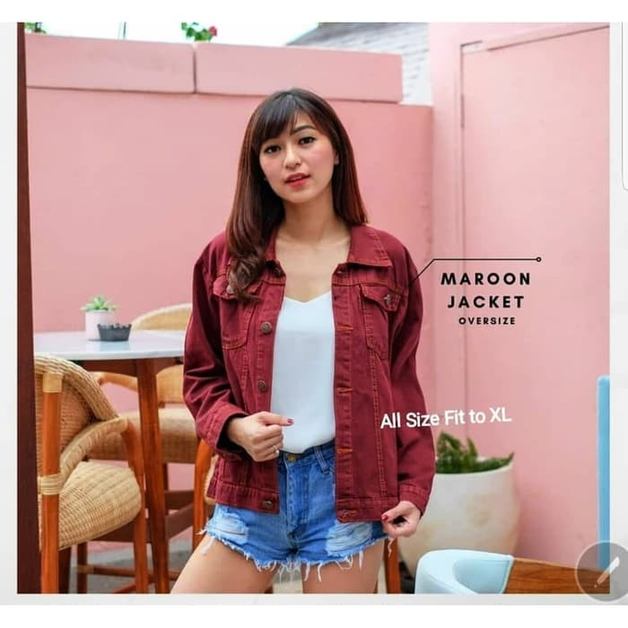 harga Jaket jeans wanita 2 warna maroon mustard jacket cewek levis tebal  oke Tokopedia.com d6e953756a