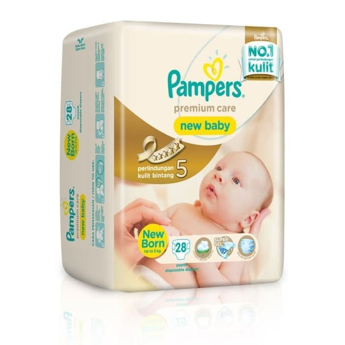 Pampers Popok Premium Care New Baby Tape - NB28