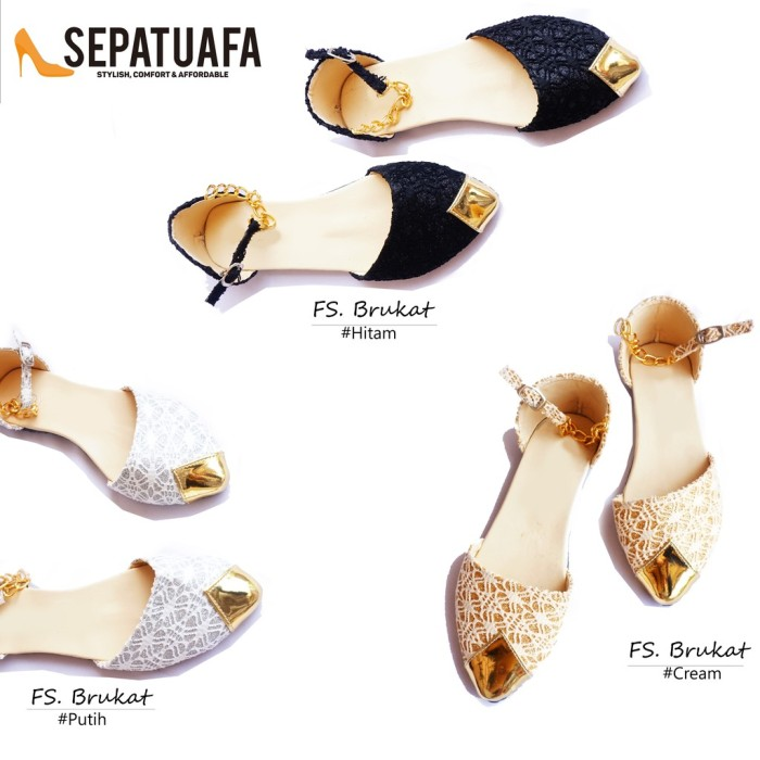 (Promo Terbatas) Flat Shoes Sepatu Teplek Wanita Brukat Tali Rantai