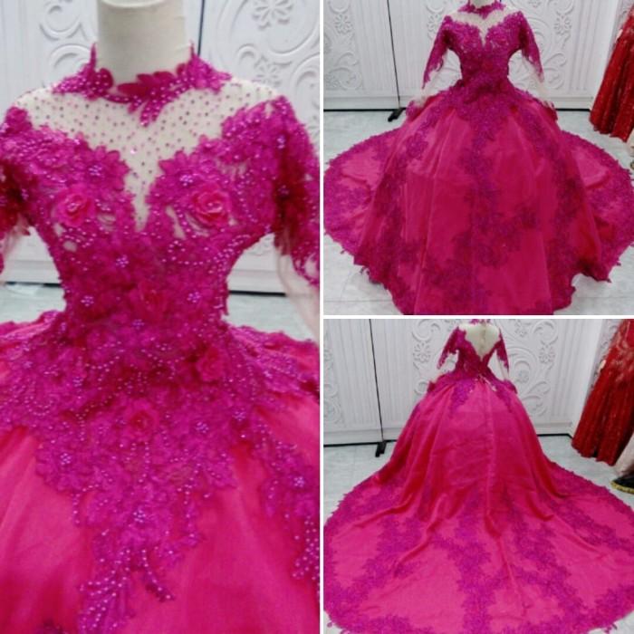 Jual Gaun Kebaya Pengantin Organza Pink Fanta Ekor Kab Karawang