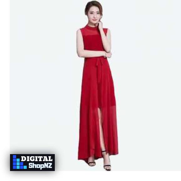 Baju Korea Long Dress Wanita Modis Korea Model terbaru 2018- Lady-Red