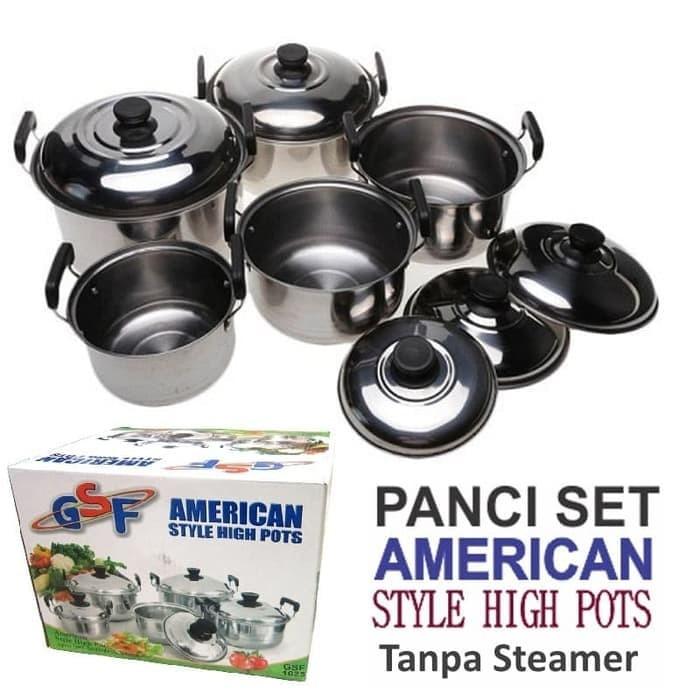 GSF 1625 - Panci Set 5pcs American Style High Pots -tanpa Steamer-