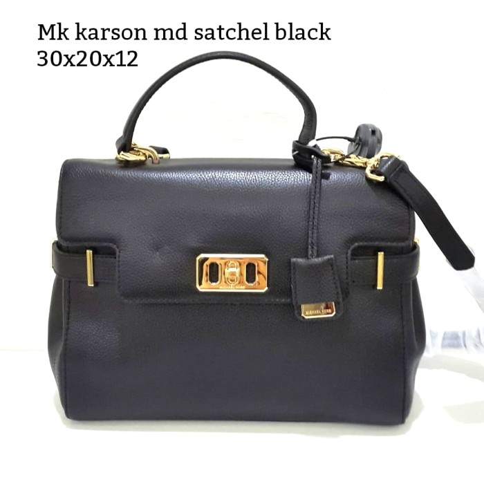 eae3c5ccfdf7 Jual Michael kors karson medium satchel black tas asli original bag ...