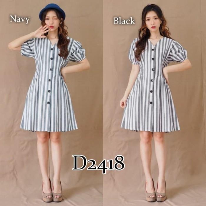 Jual D2418 Baju Dress Gaun Simple Salur Stripe Kemeja Blouse Jakarta Barat Tutu Tee Tokopedia