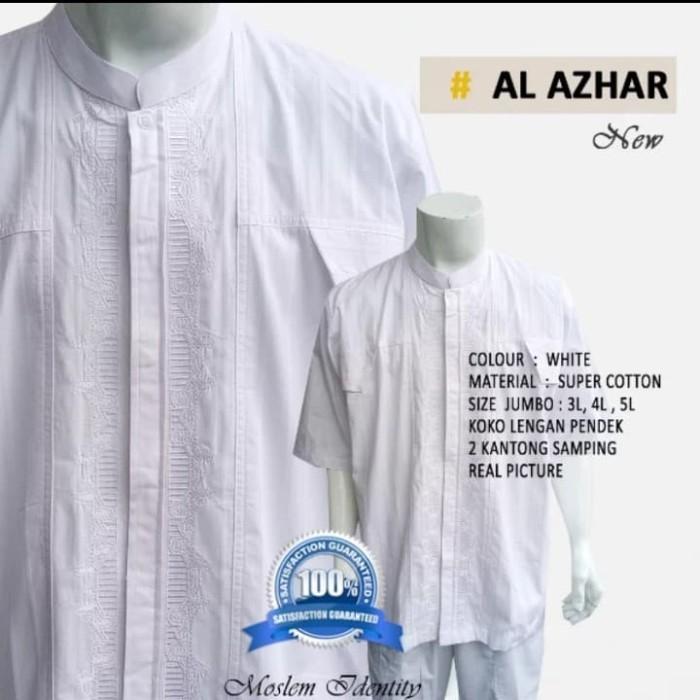 Baju koko jumbo lengan pendek bigsize pria polos putih motif suriah