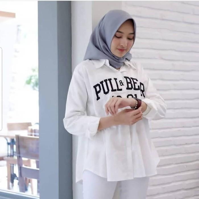 Jual Baju Atasan Wanita PULL AND BEAR SHIRT WHITE AQ002 Jual Atasan ... 9d0381621a