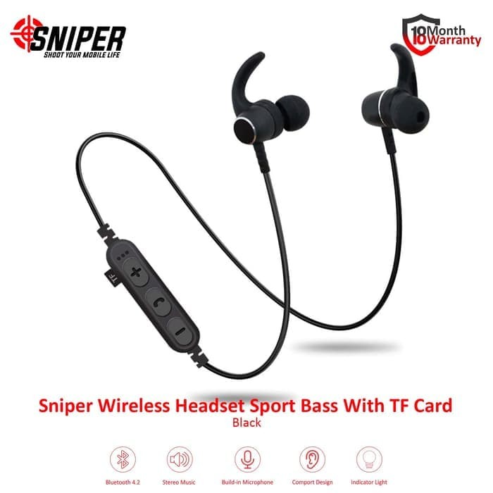 harga Sniper wireless headset sport bass with tf card - hitam Tokopedia.com