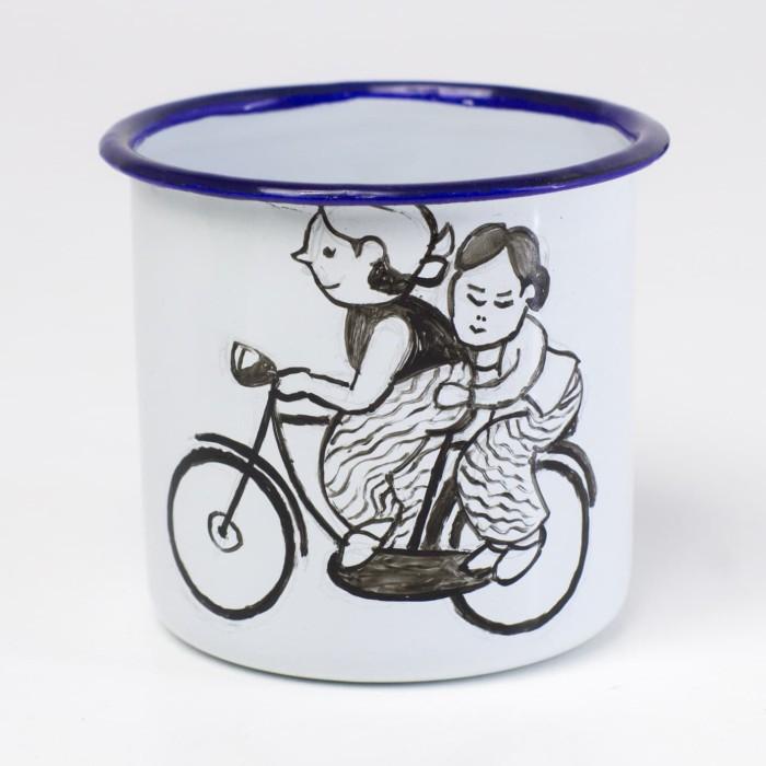 gelas enamel lukis 7 cm tematik vintage jadul jadoel unik tradisional