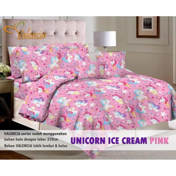 Jual Bedcover Set Sprei Katun Valencia Motif Unicorn Ice Cre Murah
