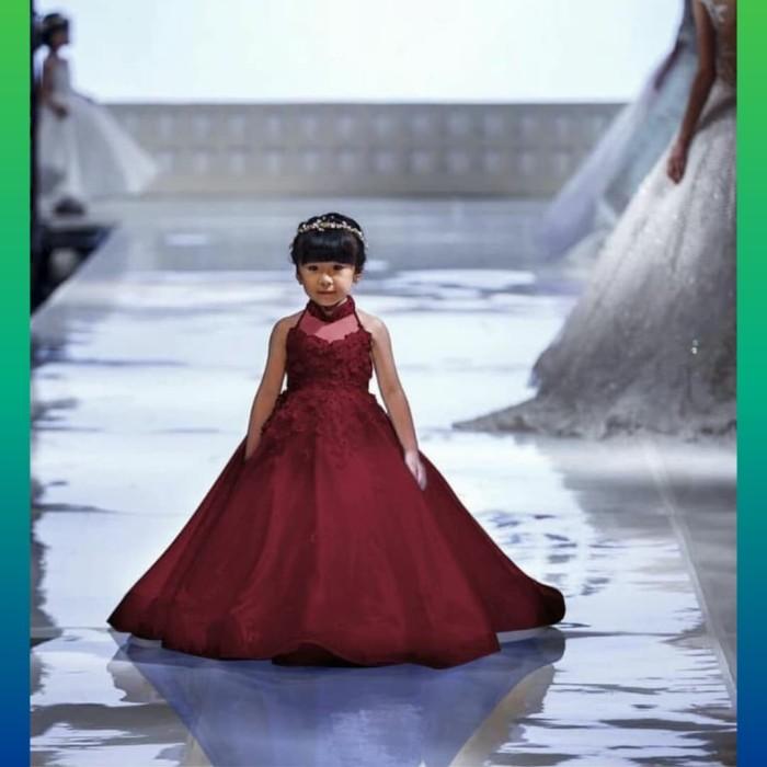 ... harga Baju dress gaun anak perempuan 2-4thn pesta natal imlek maxi  maroon Tokopedia. fe81d4770a