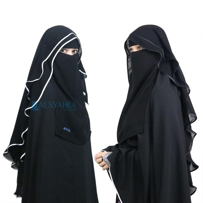 Foto Produk Niqab Butterfly Alsyahra 2 Layer Chiffon Silk Jetblack Exclusive dari Toko Alsyahra