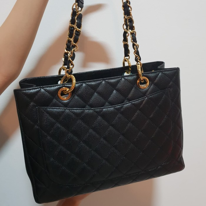 96dfd58d74d9 Jual Chanel Black Caviar Leather Quilted Grand Shopping Tote Bag ...