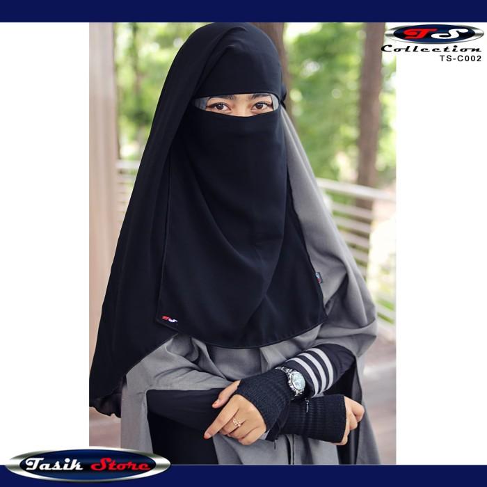 Foto Produk Cadar Niqob Purdah New Long Yaman Anti Singkap Tahan Badai 1 Layer-TS - Hitam dari Tasik Store