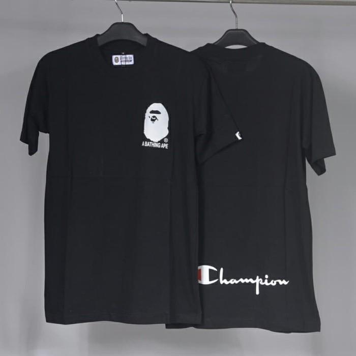 73a527bb5 Jual tshirt kaos bape x champion hitam premium - Kab. Bandung ...