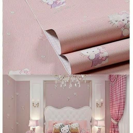 Jual Wallpaper Untuk Dinding Kamar Cewe Cute Hello Kitty Kota Semarang Toko Sudarmo Tokopedia