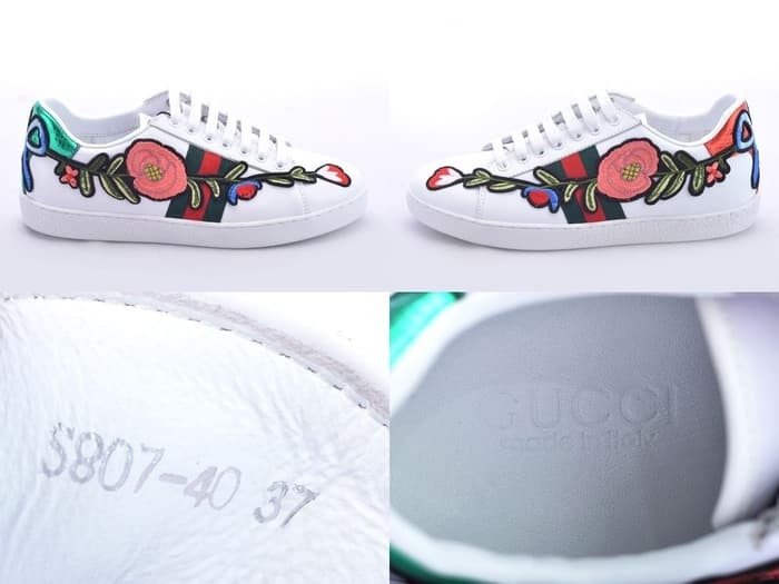 741910511c4 ss Sepatu Gucci Sneaker Ace Embroidered Leather Floral Putih SPS807-40