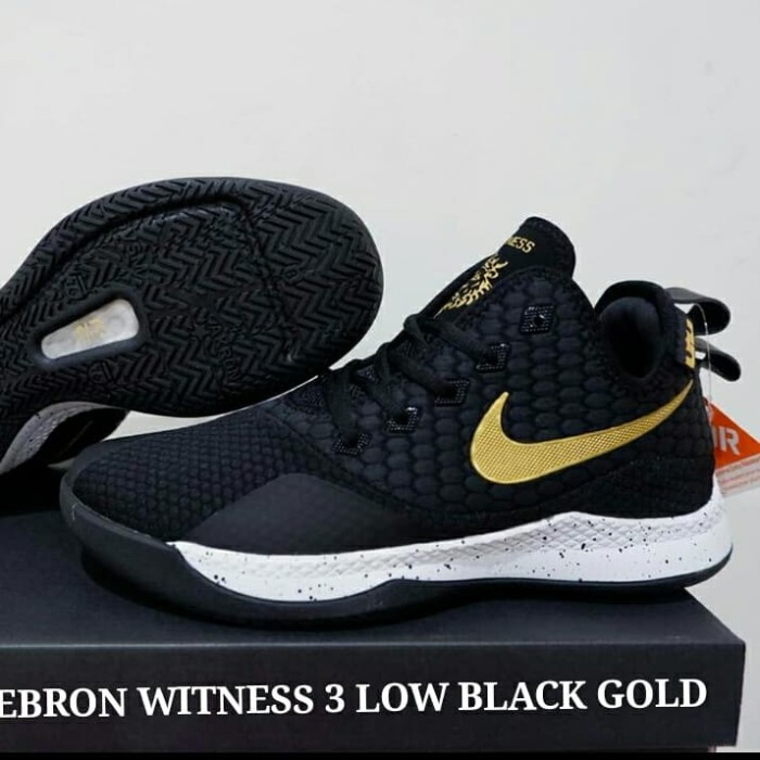 b4eee2f3db22c Jual SEPATU NIKE LEBRON WITNESS 3 LOW BLACK GOLD - LobabaSports ...