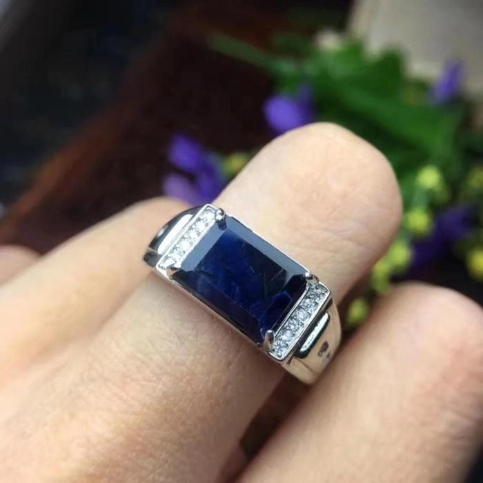 Jual Cincin Perak Dengan Berlian Asli Batu Blue Safir Saphire