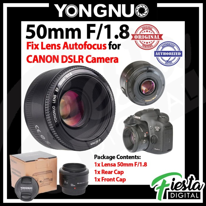 Foto Produk Lensa Yongnuo YN 50mm f/1.8 For Canon EF , Lensa Fix 50mm dari Fiesta Digital