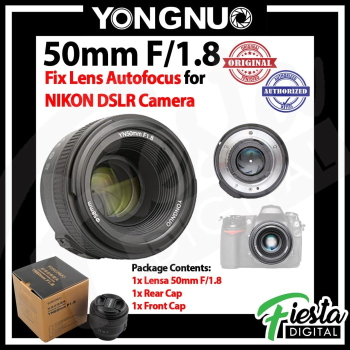 Foto Produk Lensa YONGNUO YN 50mm f/1.8 For NIKON DSLR , Lensa Fix 50mm dari Fiesta Digital