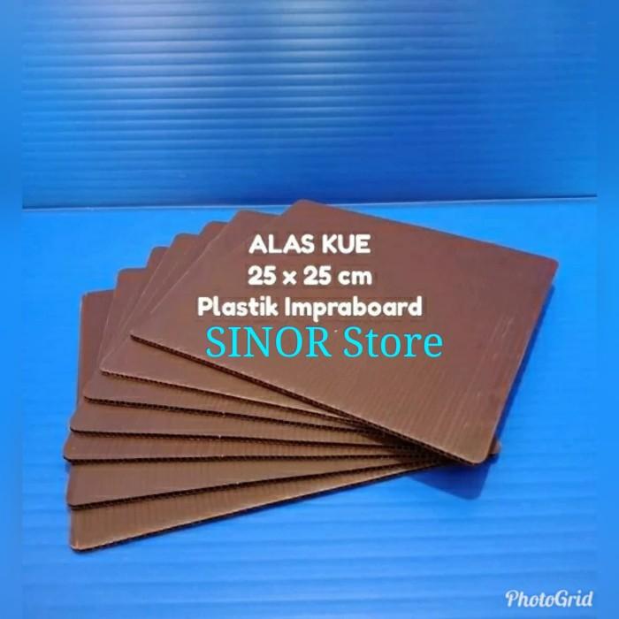 Foto Produk Alas Kue Kotak 25 X 25 Cm Coklat Tatakan Cake Box Plastik Impraboard - Cokelat dari SINOR Store