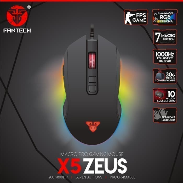 harga Mouse Gaming Macro Fantech X5s Zeus Running Rgb Chroma With 7 Buttons Blanja.com