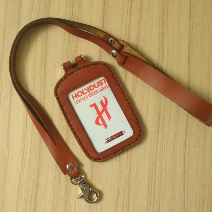 harga Id card holder name tag kulit asli premium gantungan id card simpel Tokopedia.com