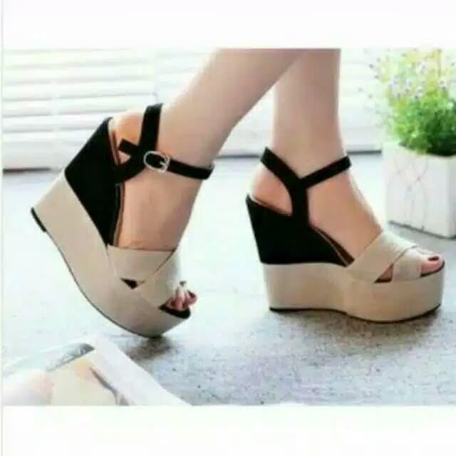 ec45c2390df D02 Women Wedges Sandal 7cm - Sandal Wanita Pesta Casual HITAM CREAM - Hitam