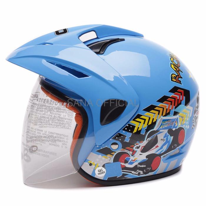 Helm Half Face Helm nhk WTO Helm Anak Kids Pet Racing Wheel Biru