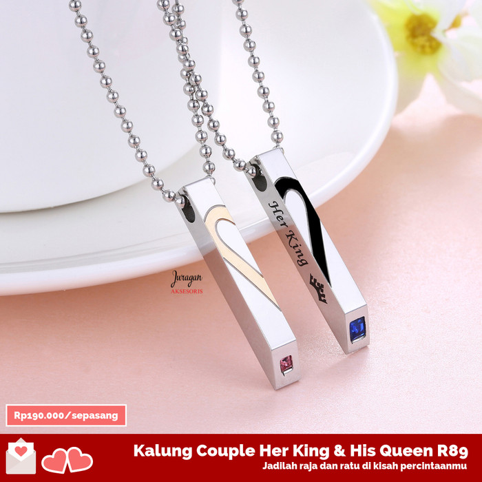 Kalung Couple Her King & His Queen R89 Titanium