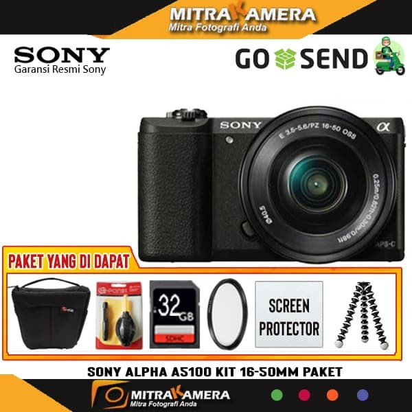 Sony Alpha A5100 Kit 16-50mm (Paket) - Hitam