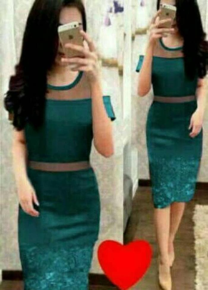 Unik Dress Midi/Mini/Gaun Spandek Combi Brukat/Brokat/Lace T
