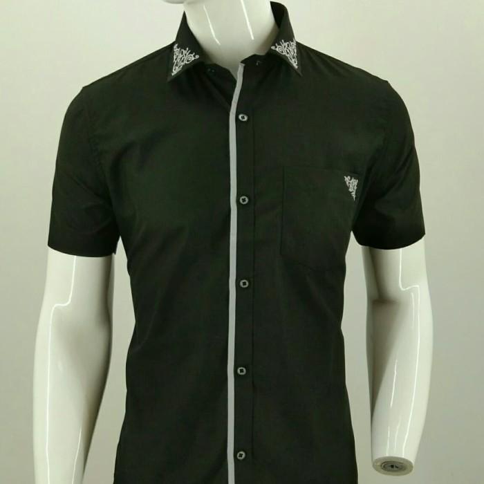 Kemeja Pria Fashion LUIGI RICCIO Detail Kerah Black Color