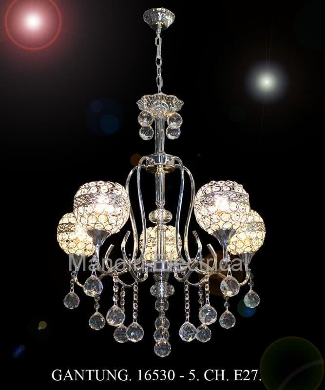 Lampu Hias Gantung Crystal Ruang Tamu 16530 5 Ch Gd