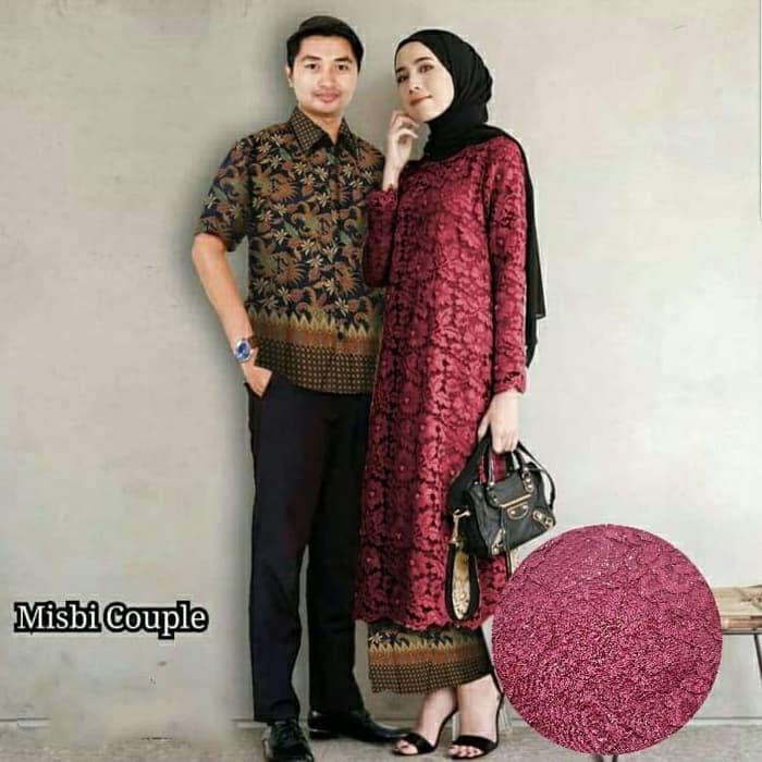 Jual Baju Couple Muslim Couple Batik Kebaya Misbie Abu Abu Muda Dki Jakarta Trendy Distro Tokopedia