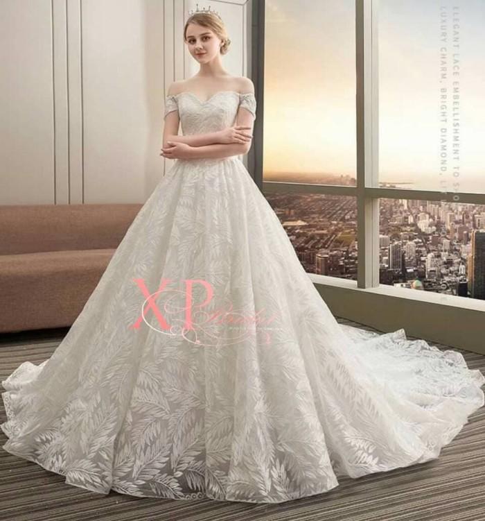 Jual Gaun Pengantin Modern Model Sabrina Putih Se86 Wedding Dress Terbaru Kota Batam Xpbridal Tokopedia