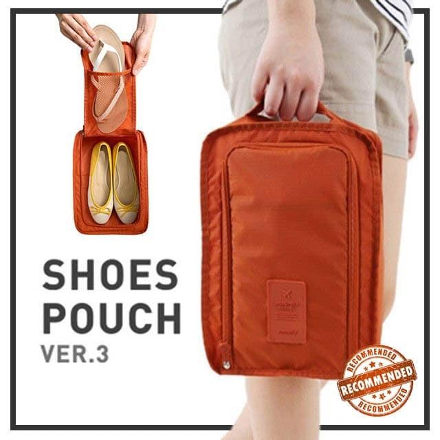Korea shoes pouch travel ver 3 / Monopoly Travel Series / Tas Sepatu - Maroon