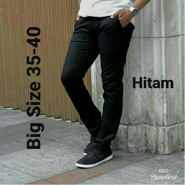 Foto Produk celana chino panjang abu big size - Hitam, 35 dari oxo shop