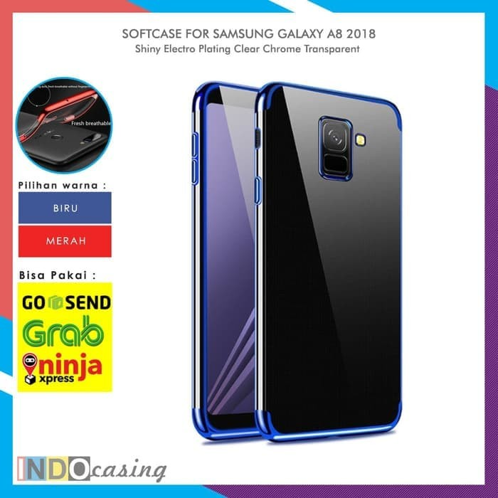Jual Case Samsung A8 2018 Shiny Electro Plating Clear Chrome Soft