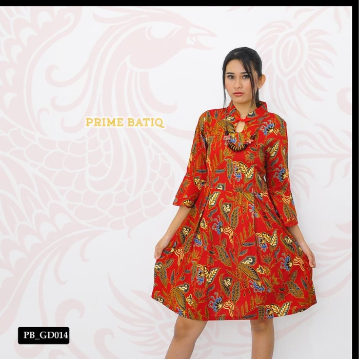 Jual Dress Batik Baju Terusan Wanita Modern Elegant Gd014 Kota Medan Prime Batiq Tokopedia