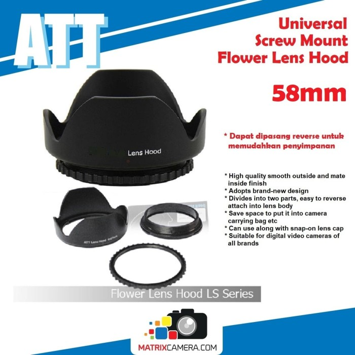 Foto Produk Universal Screw Mount Flower Lens Hood 58mm Lenshood dari MatrixCamera