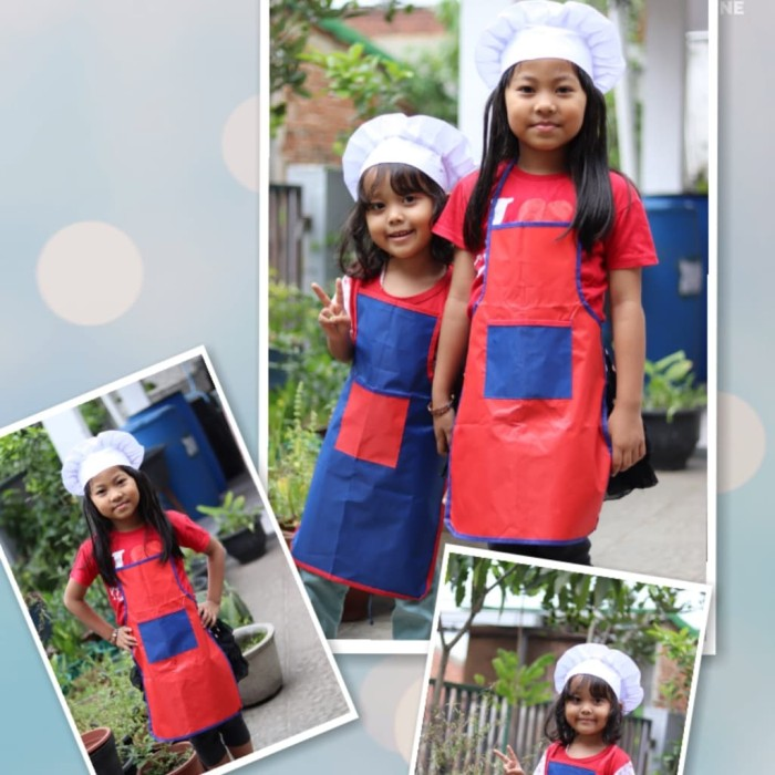 Jual Set Apron Celemek Topi Koki Chef Anak - juragan celekmek ... 984e87d612