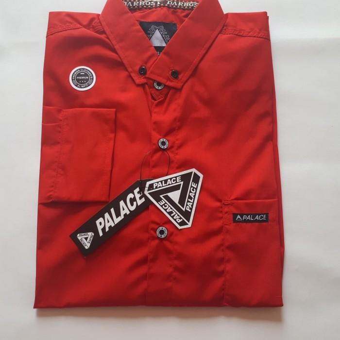 Foto Produk hem kemeja kantor pria /kemeja formal lengan panjang bahan oxford - Merah, M dari RayStore