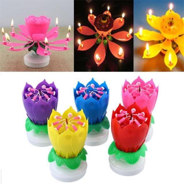Lilin Music Lotus Lilin Musik Bunga Teratai Berputar Magic Candle